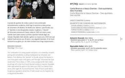 Carte Blanche to Vasco Dantas – Matosinhos String Quartet
