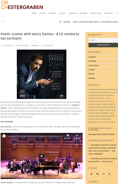 Poetic scenes with Vasco Dantas – A CD review by Kai Germann (Orchestergraben)
