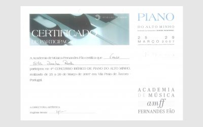 4th Iberian Piano Competition Alto Minho, PORTUGAL