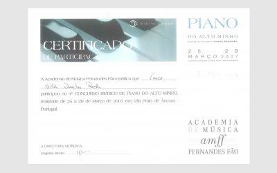 4th Iberian Piano Competition Alto Minho, PORTUGAL
