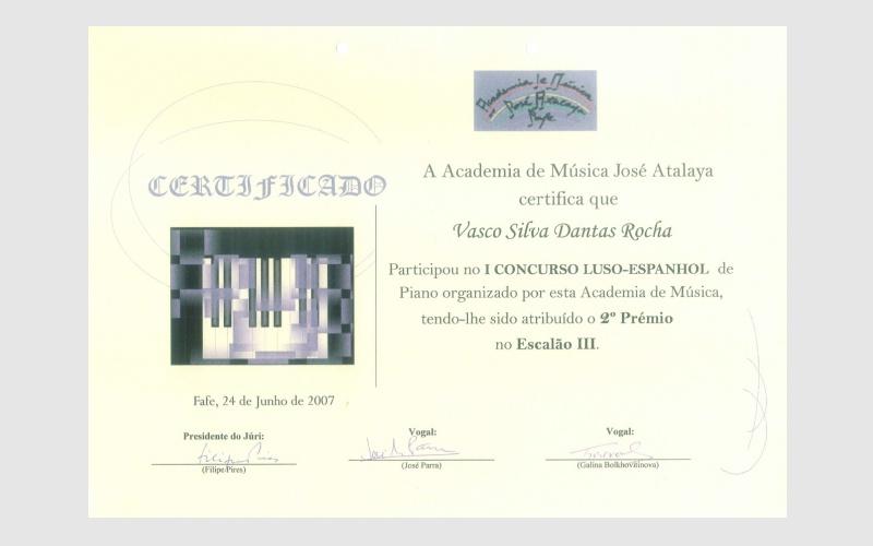 1st Piano Competition Luso-Espanhol, PORTUGAL