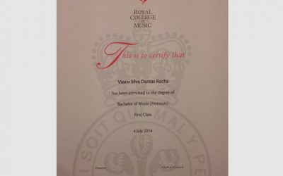 Certificate from London Royal College of Music Bachelor of Music with Hounors with Distinction, London 2014
