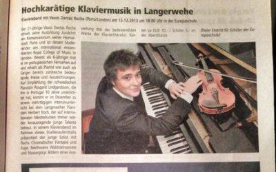 Düren Zeitung, Recital in Langerwehe, Germany 2013