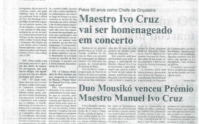 Jornal Primeira Mão, 1st Prize at Ivo Cruz Chamber Music Competition , Portugal 2004