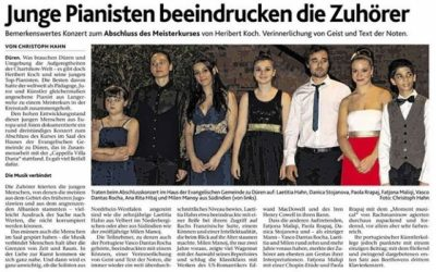 Düren Zeitung, Masterclass and Concert, Germany 2014