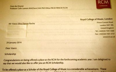 Scholarship offer from London Royal College of Music to Master Studies, London 2014