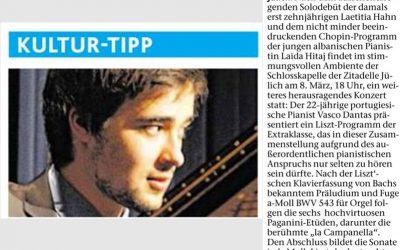 "The Newspapers ""Aachener Zeitung & Aachener Nachrichten"" promoting my solo recital at Schloss Kapelle, Jülich (Germany)"