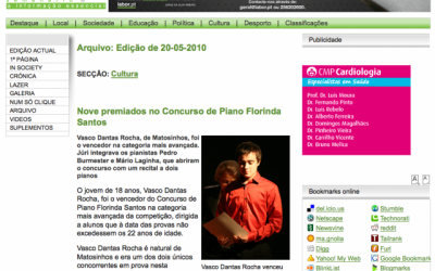 Jornal Labor, 1st Prize at Florinda Santos Piano Competition, Portugal 2010