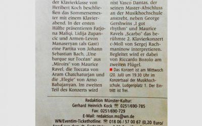 """Rachmaninoff Piano Concerto no.2"", Münster Regional Zeitung (Germany)"