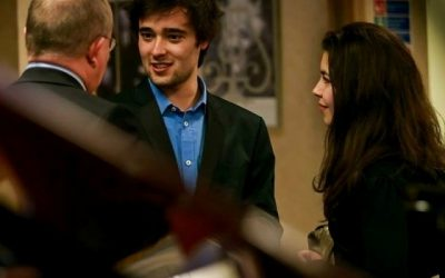 Chatting with Zita Silva (Harpist) after Piano Concerto at London Steinway Hall, England (March 2014)
