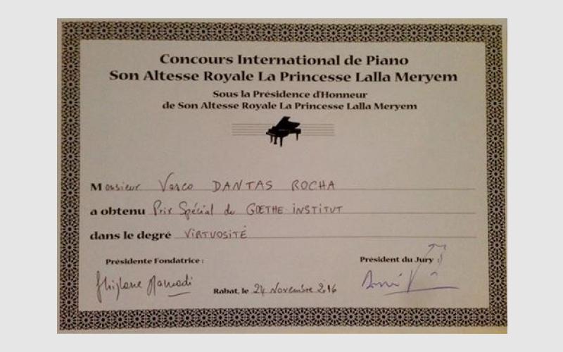 """Special Prize"" at ""Concours International de Piano Son Altesse Royale La Princesse Lalla Meryem"""
