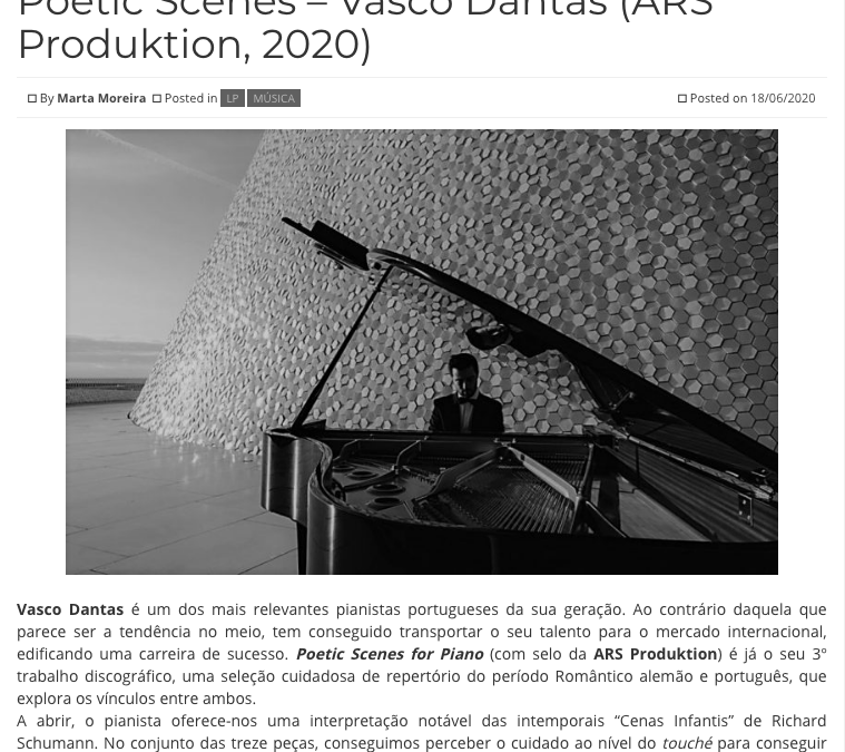Album Poetic Scenes, Vasco Dantas – review by Marta Moreira @ Revista Intro